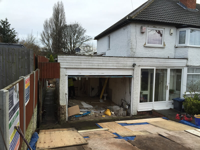 Wrap around extension garage, WC & living roorm